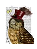 Owl with Top Hat Reproduction d'art par Fab Funky