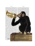 Monkey Playing Trumpet Reproduction d'art par Fab Funky
