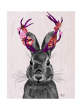 Jackalope with Pink Antlers Reproduction d'art par Fab Funky