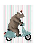 Rhino on Moped Reproduction d'art par Fab Funky