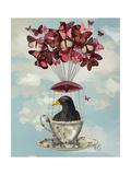 Blackbird in Teacup Reproduction d'art par Fab Funky