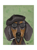 Hipster Dachshund Reproduction d'art par Fab Funky
