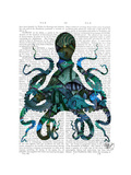 Fishy Blue Octopus Reproduction d'art par Fab Funky
