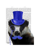 Badger with Blue Top Hat and Moustache