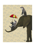 Elephant and Penguins Reproduction d'art par Fab Funky