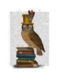 Owl on Books Reproduction d'art par Fab Funky