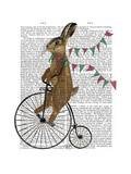 Rabbit on Penny Farthing Reproduction d'art par Fab Funky