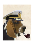 Basset Hound Sea Dog Reproduction d'art par Fab Funky