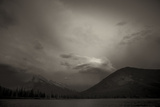 View of Mount Rundle at Dusk with Storm Clouds from Vermillion Lakes in Banff  Canada
