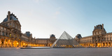 Courtyard and Glass Pyramid of the Louvre Museum at Sunrise  Paris  Ile-De-France  France