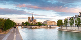 Notre Dame Cathedral on the Banks of the Seine River at Sunrise  Paris  Ile-De-France  France