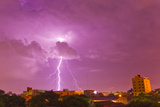 A Lightning Bolt Striking Down in the City of Asuncion  Paraguay During an Intense Lightning Storm