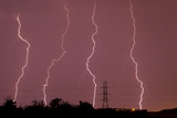 Multiple Lightning Strikes During an Intense Lightning Storm Pounds Dallas
