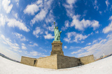Fisheye Lens View of the Statue of Liberty in New York During the Winter with Snow