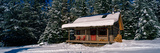 Mountain Cabin and Snow Covered Forest  Nipika Mountain Resort  British Columbia  Canada