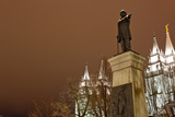 Low Angle View of a Statue in Front of the Mormon Temple  Salt Lake City  Utah  Usa