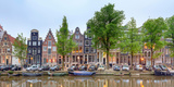 Houses and Boats Along the Herengracht Canal  Amsterdam  North Holland  Netherlands