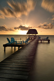 Pier with Palapa on Caribbean Sea at Sunrise  Caye Caulker Pier  Belize