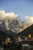 Sunlight Strikes the Medieval Towers in Ushguli
