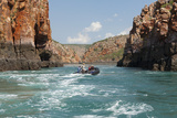 Tourists on Zodiacs Explore the Extreme Tidal Fluctuations at Horizontal Waterfalls in Talbot Bay