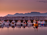 Boats in the Harbor with the Midnight Sun  Olafsvik  Snaefellsnes Peninsula  Iceland