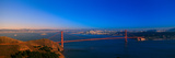 View of the Golden Gate Bridge and City Skyline at Sunset from the Marin Headlands