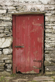 A Red Door in a Stone House in County Kerry  Ireland