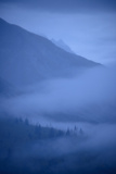 Early Morning Fog Wafting into a Valley in Glacier Bay National Park