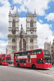 Double-Decker Buses Passing by a Cathedral  Westminster Abbey  City of Westminster  London  England