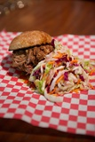 Pulled Pork Slider Sandwich with Coleslaw in the Mission District of San Francisco  California