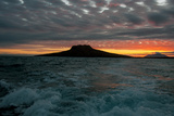 The Channel Between Sombrero Chino Island and Santiago Island in the Galapagos at Sunset