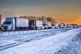 A Ten-Mile Backup of Cars and Trucks Due to Icy Conditions on Eastbound Interstate 40