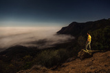 A Man Watches the Fog Roll Through the Santa Monica Mountains