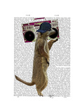 Meerkat with Boom Box Ghetto Blaster Reproduction d'art par Fab Funky