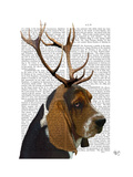 Basset Hound and Antlers Reproduction d'art par Fab Funky
