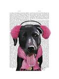 Black Labrador with Ear Muffs