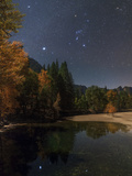 Bright Star Sirius  and Constellations Orion and Taurus over the Merced River  in Moonlight