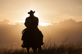 A Cowboy on Horseback at Sunset  in a Pasture