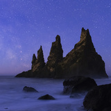 Night Sky and the Milky Way at the Break of Dawn over the Basalt Sea Stacks known as Reynisdrangar