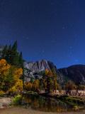 A Moonlit Autumn Night with Polaris  and Constellations Ursa Major and Ursa Minor over Aspen Trees