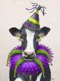 Mardi Gras Cow Reproduction d'art par Fab Funky