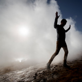Man in the Steam at Namaskard- Geothermal Volcanic Area  Northern Iceland