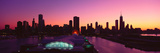 Panoramic View of Navy Pier and Chicago Skyline at Sunset  Chicago  Il