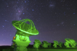 Starry Sky with the Magellanic Clouds over the Alma Radio Telescopes  5000 Meters High in Andes
