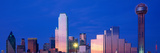 Panoramic View of Dallas  Tx Skyline at Night with Reunion Tower