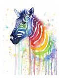 Rainbow Zebra Reproduction d'art par Olga Shvartsur