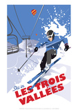 Les Trois Vallees - Dave Thompson Contemporary Travel Print