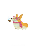 Dog with pipe  scarf and glasses - Hannah Stephey Cartoon Dog Print