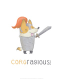 Corgragious! - Hannah Stephey Cartoon Dog Print