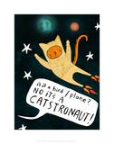 Catstronaut - Katie Abey Cartoon Print Reproduction d'art par Katie Abey